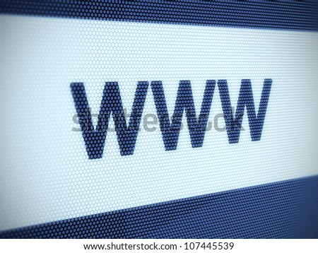3d illustration of www text on screen. Shallow Depth of Field - stock photo