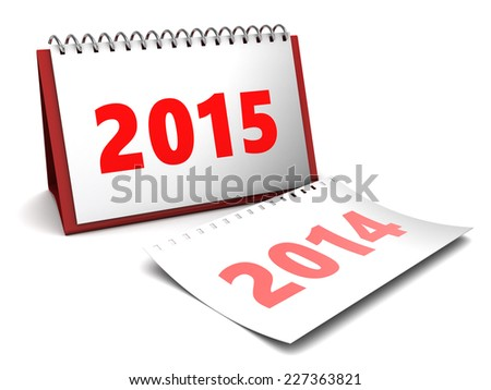 3d illustration of 2015 year calendar over white background - stock photo