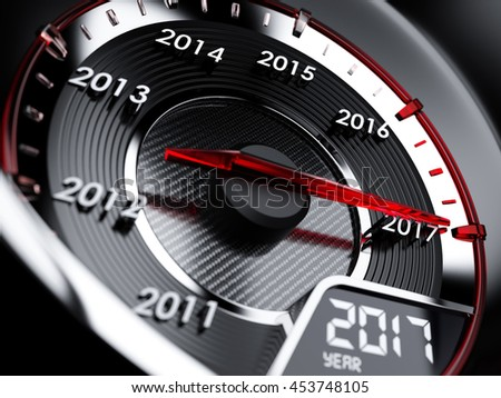 3d illustration of 2017 year car speedometer. Countdown concept