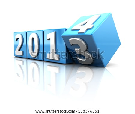 3d illustration of year change concept, 2013 to 2014 - stock photo