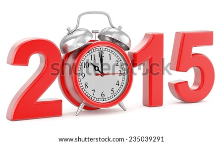 3d illustration of 2015 year sign and clock, over white background - stock photo