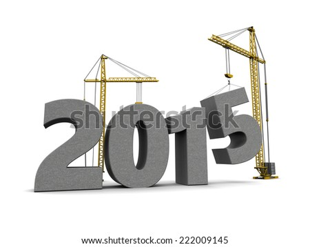 3d illustration of 2015 year sign construction with crane