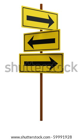 3d illustration of yellow direction sign over white background - stock photo