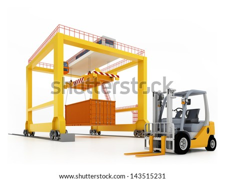 3d illustration of yellow gantry crane with container and forklift isolated on white - stock photo