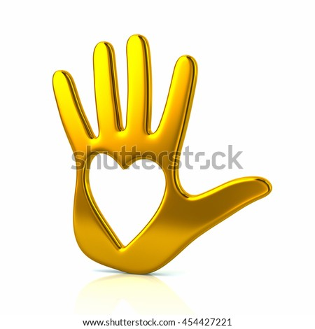 3d illustration of yellow hand with heart isolated on white background - stock photo