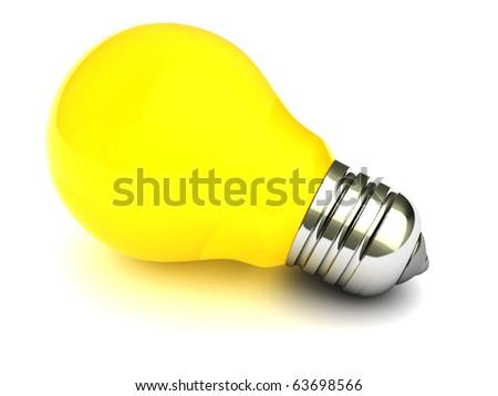 3d illustration of yellow light bulb over white background - stock photo