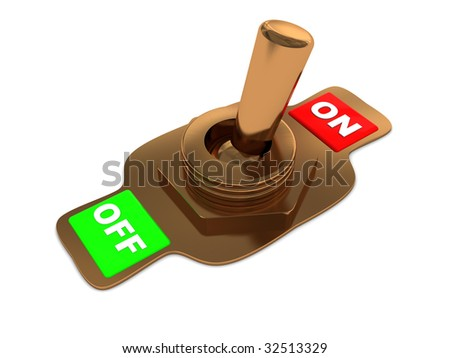 3d illustration of yellow metal switch over white background - stock photo