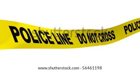 3d illustration of yellow ribbon with text 'police line' on it - stock photo