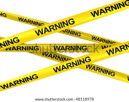 3d illustration of yellow ribbons with warning sign - stock photo