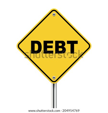 3d illustration of yellow road sign of debt isolated on white background - stock photo