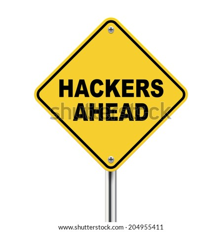3d illustration of yellow road sign of hackers ahead isolated on white background - stock photo
