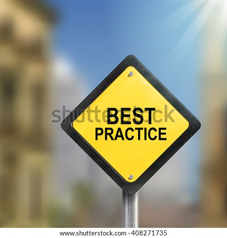 3d illustration of yellow roadsign of best practice isolated on blurred street scene - stock photo