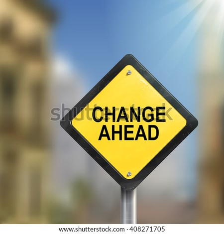 3d illustration of yellow roadsign of change ahead isolated on the blurred street scene - stock photo