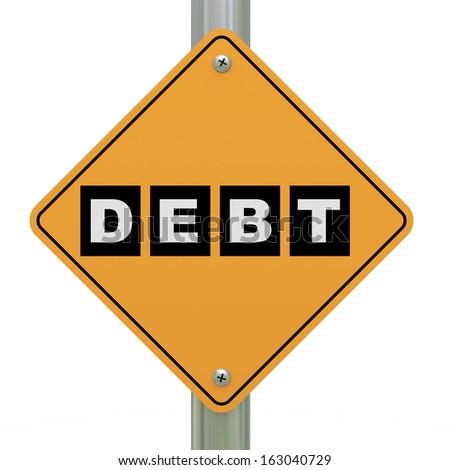 3d illustration of yellow roadsign of debt  - stock photo
