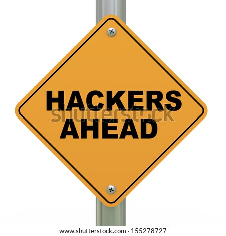 3d illustration of yellow roadsign of hackers ahead