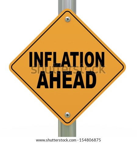 3d illustration of yellow roadsign of inflation ahead - stock photo