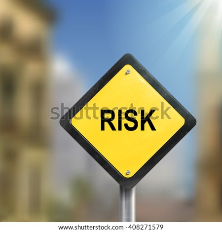 3d illustration of yellow roadsign of risk isolated on blurred street scene - stock photo