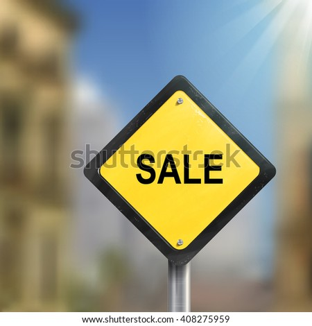 3d illustration of yellow roadsign of sale isolated on blurred street scene - stock photo