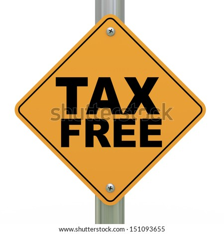 3d illustration of yellow roadsign of tax free - stock photo