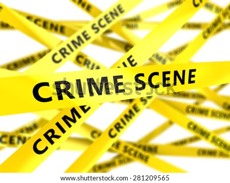 3d illustration of yellow tape with crime scene sign - stock photo