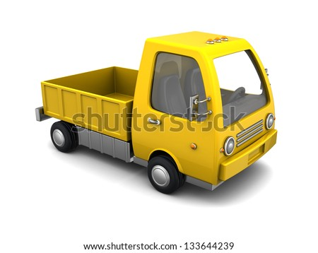 3d illustration of yellow truck empry, over white background - stock photo