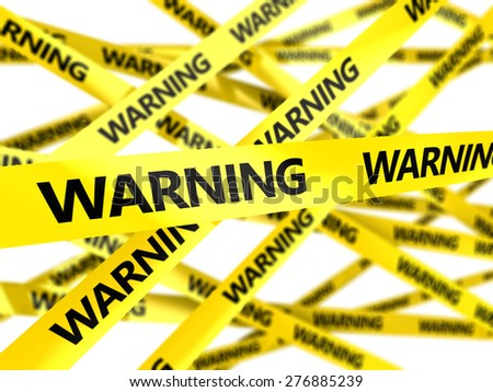 3d illustration of yelow tape with text warning - stock photo