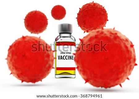 3D illustration of ZIKA virus vaccine and virus isolated on white background - stock photo