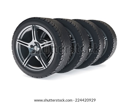 3d illustration on four automobile wheels row on the white.