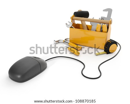 3d illustration: Online tools, technical support. Mouse and a group of tools on white background, isolated - stock photo