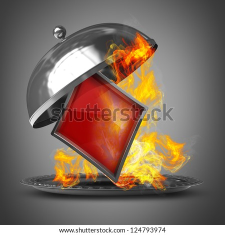 3d illustration. Open metal silver platter or cloche with card sign in Fire. High resolution