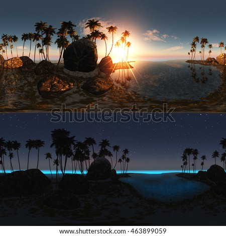 3D illustration panoramic of tropical beach at sunset and night. made with one 360 degree lense. ready for virtual reality