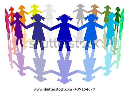 3D illustration. Paper figures. Round dance of girls of many colors. - stock photo