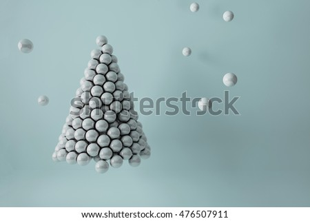 3D illustration - Pearls Christmas tree