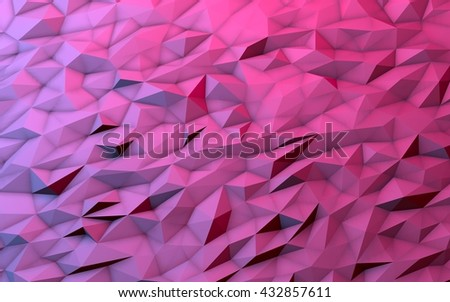 3D illustration - Pink low poly texture - stock photo