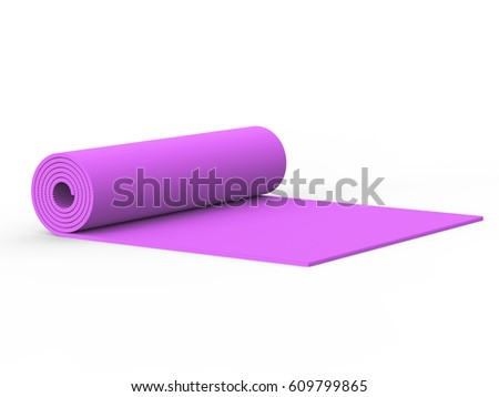 3D illustration pink yoga mat on a white background