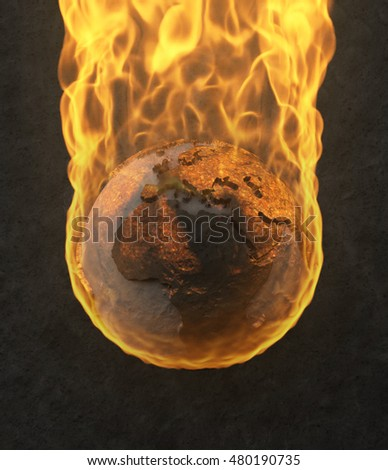 3D Illustration - Planet Earth burning