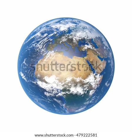 3D Illustration - Planet earth isolated on white background (Elements of this image furnished by NASA).