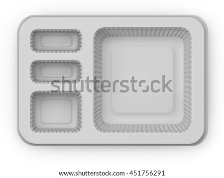3D illustration plastic container on white background view from above
