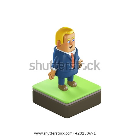 3D illustration plastic toy business man white background - stock photo