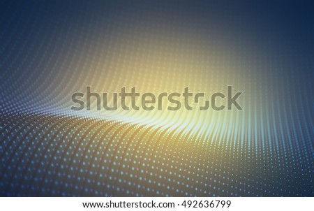 3D illustration. Points waves concept of technological abstract background.
