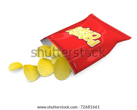 3d illustration, Potato chips snack, isolated on white background. - stock photo