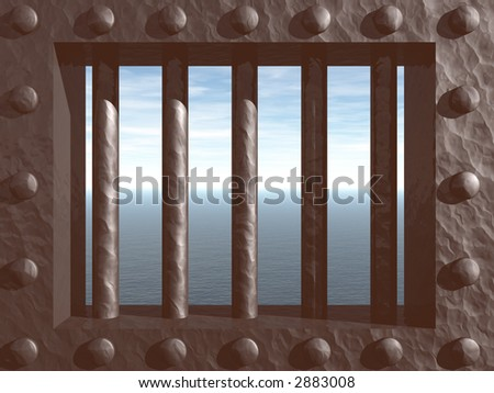 3d illustration - prison window with view on the ocean - stock photo