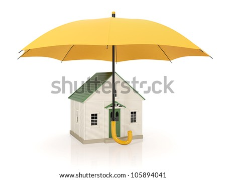 3d illustration: Protecting homes from poor conditions, an umbrella - stock photo