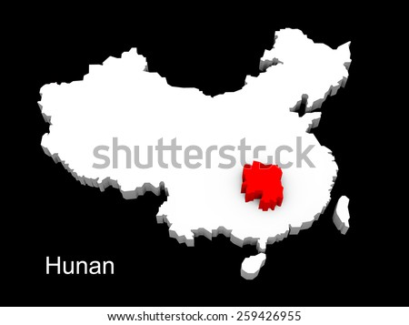 3d illustration province of china,focus on hunan