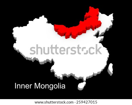 3d illustration province of china,focus on inner mongolia - stock photo