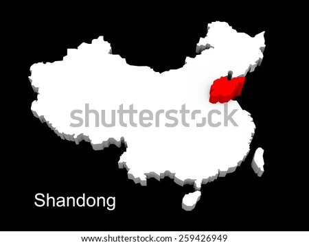 3d illustration province of china,focus on shandong - stock photo