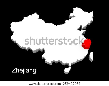 3d illustration province of china,focus on zhejiang - stock photo