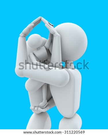 3D illustration. Puppet people. Married couple, keep child hands. Hands represent symbol home. Isolated blue background. - stock photo