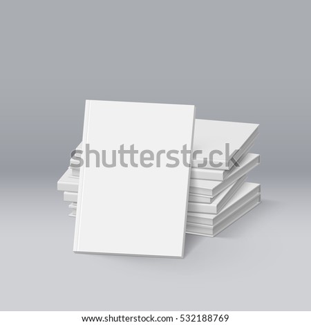 3D Illustration. Raster version. Stack of Blank White Books. Mockup Template for Design