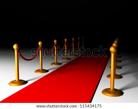 3d illustration: red carpet and golden fence - stock photo
